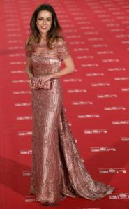 Spanish actress Silvia Abascal poses for photographers on the red carpet as she arrives for the Spanish Film Academy's Goya awards ceremony in Madrid